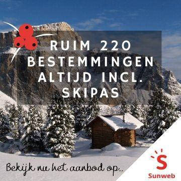 Ruim 220 bestemmingen Altijd incl. skipas