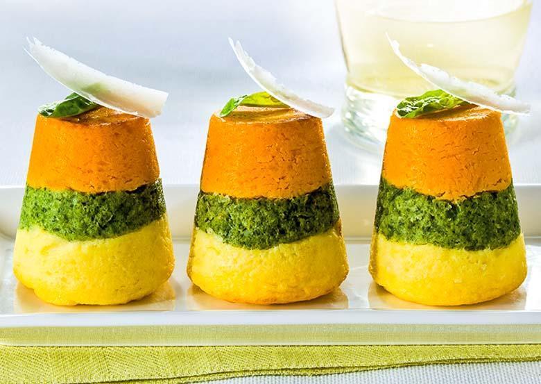 Tweekleurig groentetaartje
