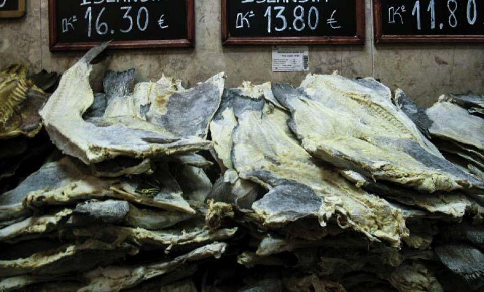 Baccala - gedroogde en gezouten kabeljauw