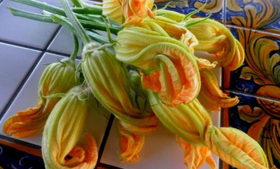 Pasta met courgette bloemen