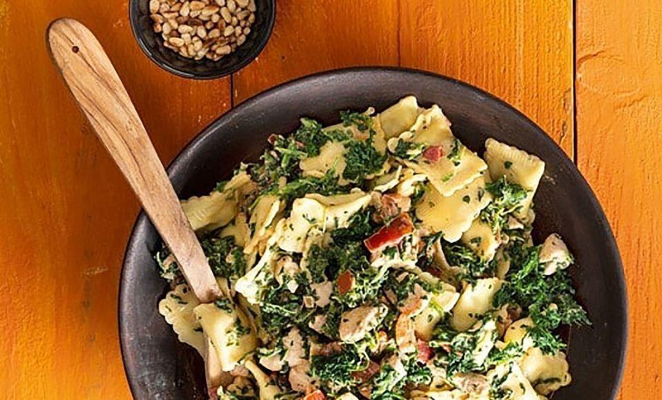 Romige ravioli met kip en spinazie