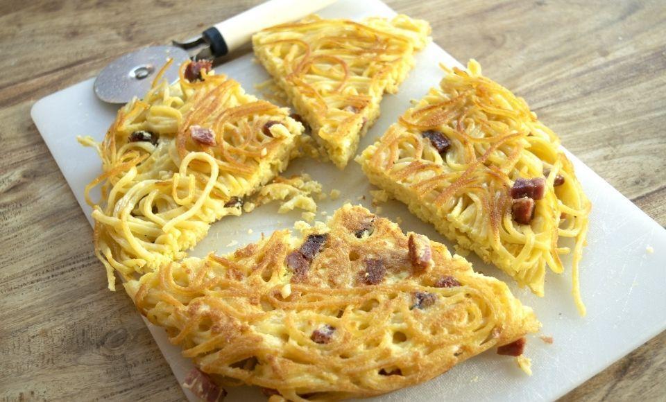 Spaghetti frittata, voor restjes van gisteren