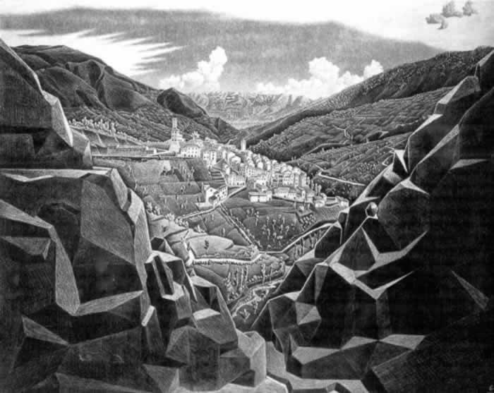 Anversa op een prent van Escher