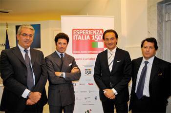 Matteo Marzotto (tweede-links),  Paolo Rubini (rechts)