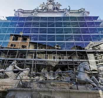 Restauratie van de Trevi fontein