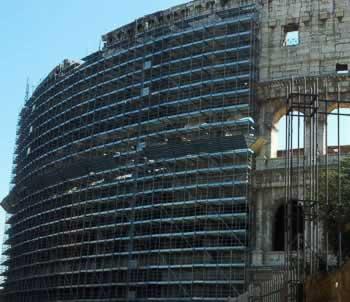 Schoonmaak Colosseum in Rome