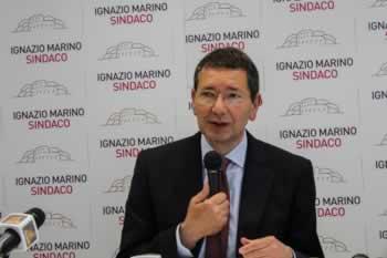 De burgemeester van Rome Ignazio Marino