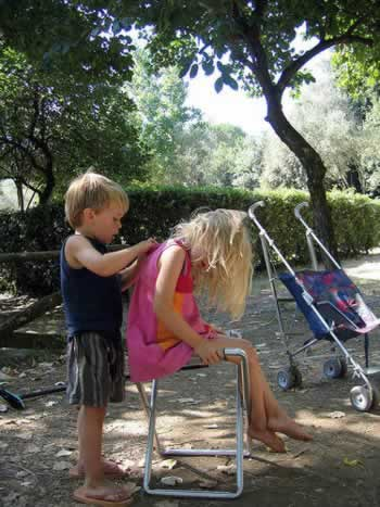 Blonde kindertjes in Italie