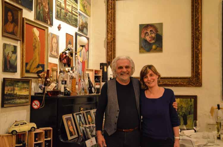 Elke met Bruno van restaurant Il Gallo Nero in Antwerpen