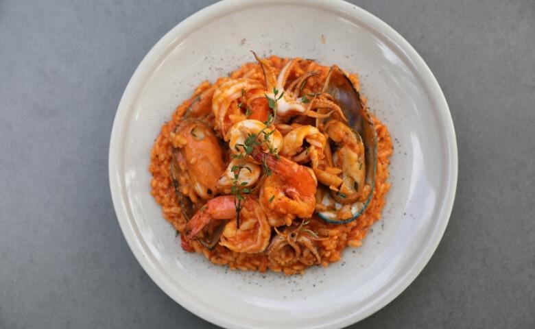 risotto met garnalen en tomaat